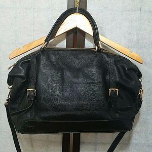 Ora Delphine black pebbled leather satchel bag